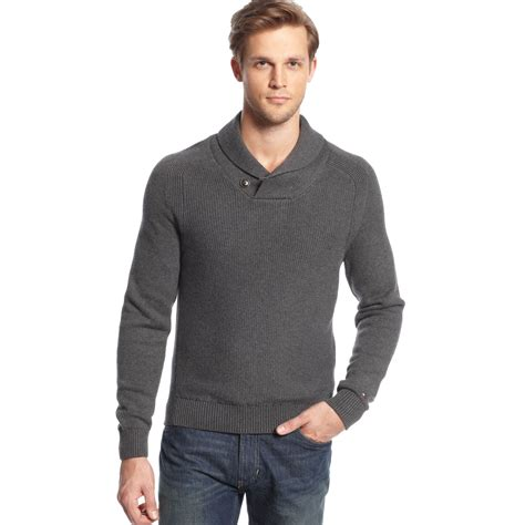 hilfiger sweater hilfiger shawl collar sweater in gray for lyst