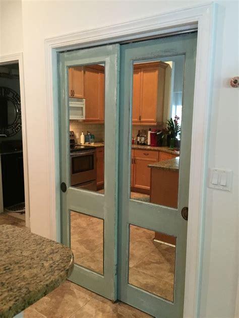 vintage wood doors  mirror added refinished