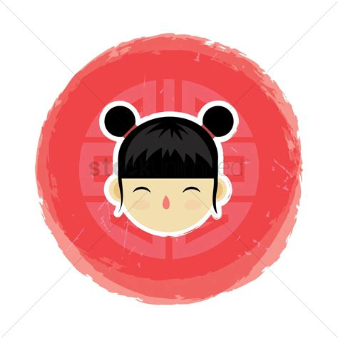 chinese girl  hair tied   buns vector image