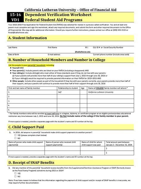 Fafsa Dependent Verification Worksheet  Kidz Activities