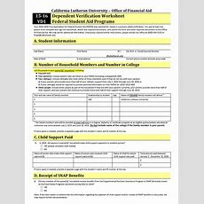 Fafsa Dependent Verification Worksheet Wiildcreative
