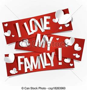 Clip Art Vector of I Love My Family Banners vector ...