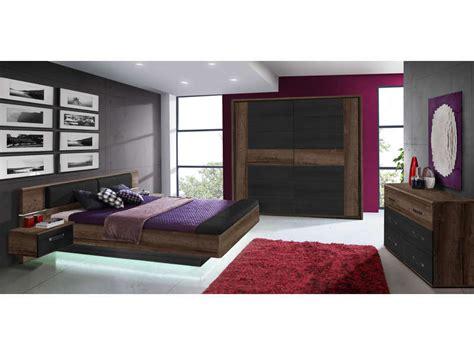 chambre adulte complete conforama lit 160x200 cm 2 chevets suspendus led dolce cottage