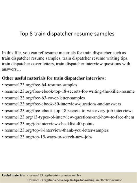 top 8 dispatcher resume sles