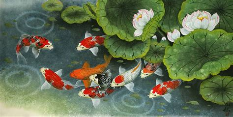 15218 Gps4us Coupon by Koi Fish And Lillies Feeding Time Painting Asian Koi