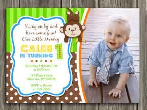 ornaments to personalize printable boy monkey birthday photo invitation boy