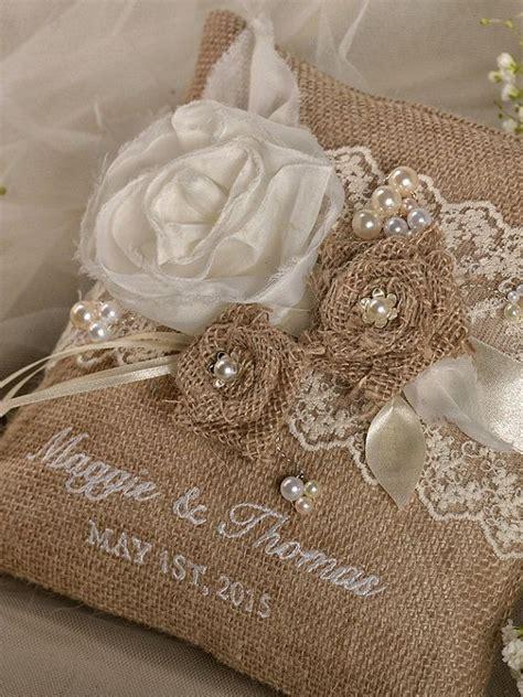 lace rustic wedding pillow burlap ring bearer by decoriswedding my fall wedding