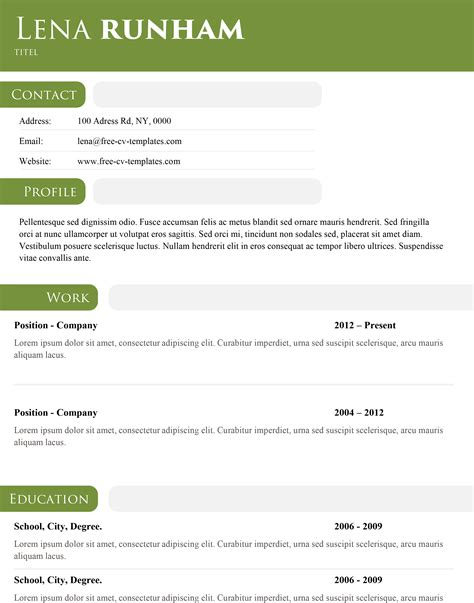 Resume Header Template by Green Header Modern And Simple Template For A Stunning