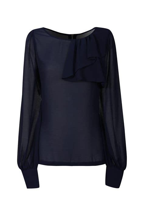 mistress navy ruffle detail blouse