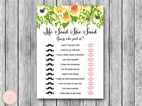 Floral Wedding Shower Game Printable