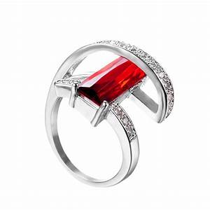 Geometric Ruby July Birthstone Ring - BlazeMall