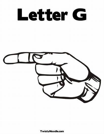 Sign Language Gg Letter Coloring American Alphabet
