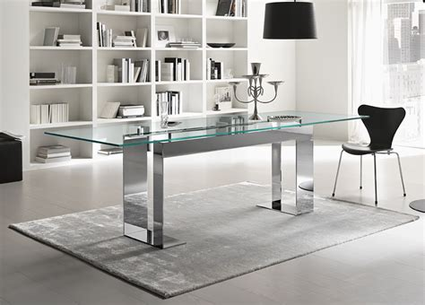 Tonelli Miles Glass & Chrome Dining Table Contemporary