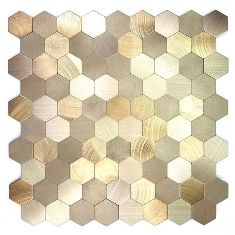 adhesive kitchen backsplash abolos enchanted metals 12 in x 12 in gold aluminum