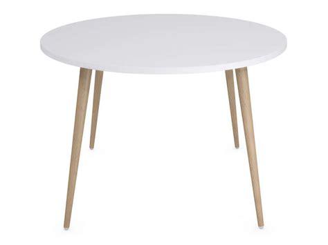 table cuisine avec chaises table ronde 120 cm soren coloris blanc chêne clair vente