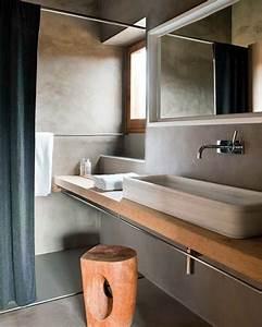 Plan De Toilette Bois : revestimiento ba os microcemento de dise o y encimera ~ Teatrodelosmanantiales.com Idées de Décoration