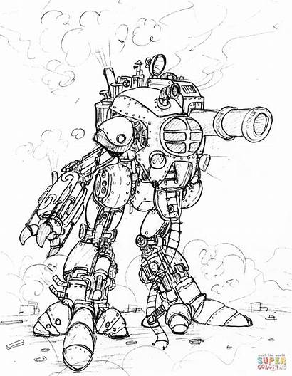 Steampunk Coloring Drawing Pages Robot Drawings Apocalypse