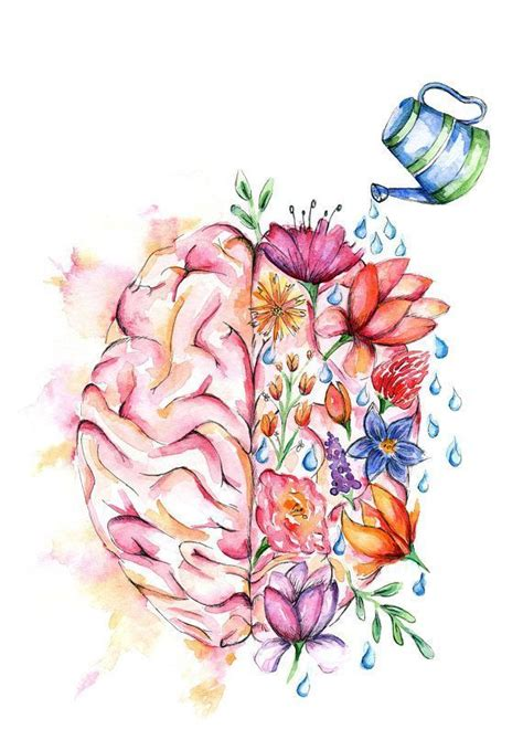 watercolour anatomy art print flower brain brain art medical art flower art