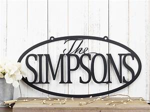 Buy, Hand, Crafted, Family, Name, Oval, Metal, Sign