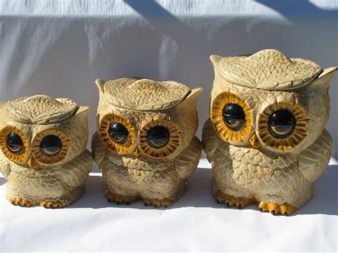 owl kitchen canisters retro hippie vintage handmade ceramic kitchen canisters fat big eyed owls