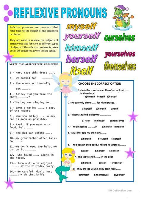 reflexive pronouns worksheet  esl printable