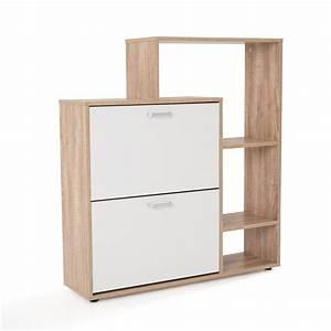 meuble a chaussure mdf chene blanc avec porte abattante With porte d entrée alu avec commode rangement salle de bain