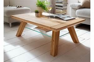 Meuble Salon Bois : table basse de salon en bois ch ne massif ~ Teatrodelosmanantiales.com Idées de Décoration