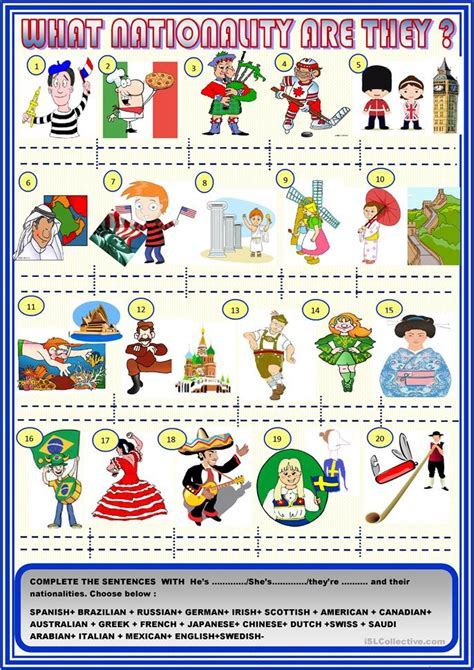 What Nationality Are They? With Key Worksheet  Free Esl Printable Worksheets Made By Teachers