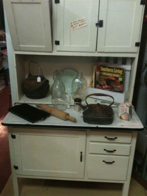 antique hoosier cabinet  metal flour bin  metal