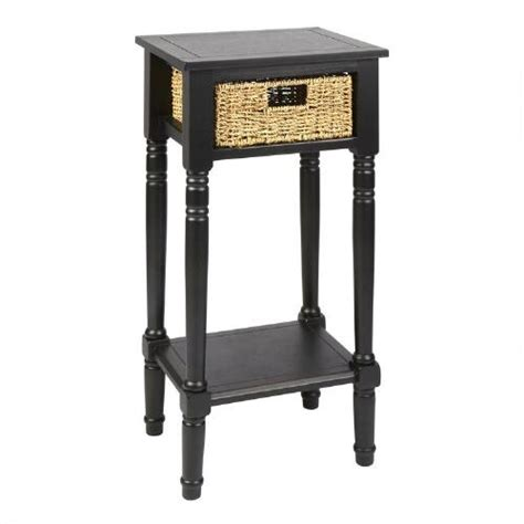 black side table with drawer black end table with seagrass drawer christmas tree