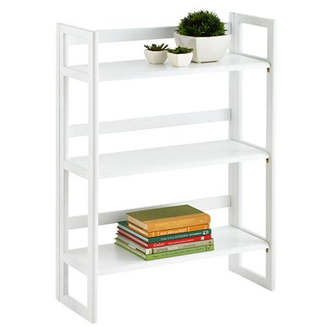 White Solid Wood Stackable Folding Bookshelf The
