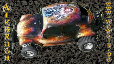 airbrush  wow real flames vw buggy modell auto