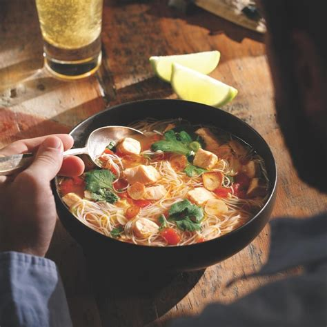 southeast asian inspired salmon soup recipe eatingwell
