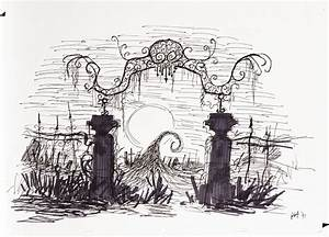 Graveyard gate concept sketch from The Nightmare Before ...