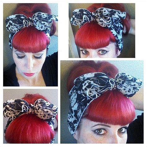 1940s Hairstyles With Scarf by Skulls Vintage Style Hair Scarf Headwrap Hair Bow 1940s