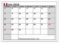 Calendario julio 2018, Perú