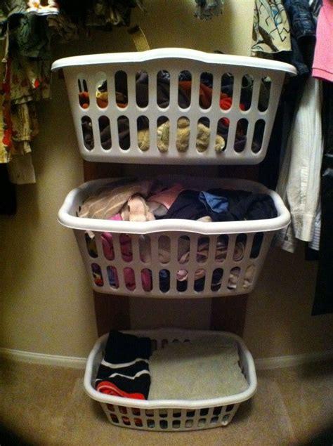 Closet Organizer Baskets by Diy Closet Clothes Basket Rack Neat Idea Repurposed