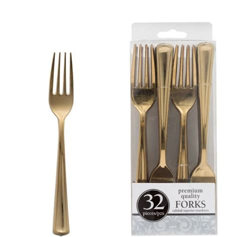 Gold Look Plastic Forks 32ct Favorite things party