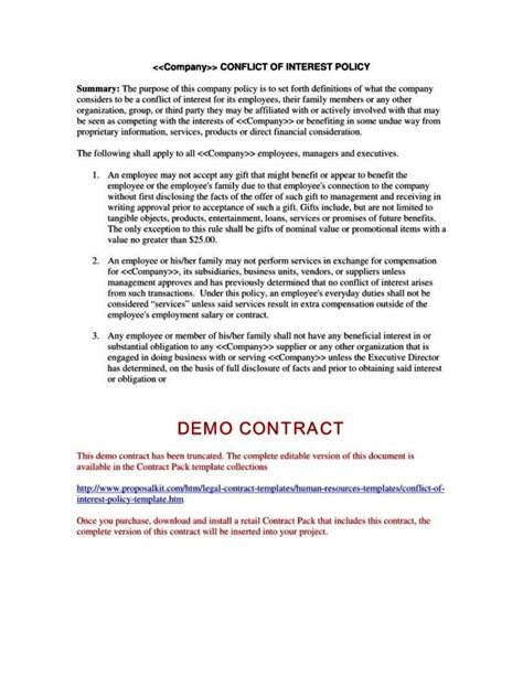 conflict  interest disclosure form template