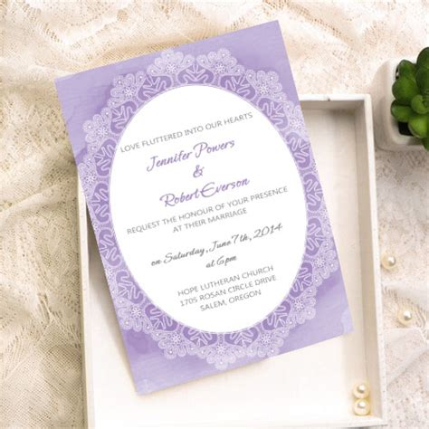 cheap lavender lace watercolor wedding invitation kits EWI378 as low as $0.94