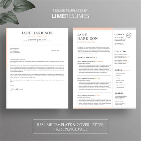 resume template cover letter template for word