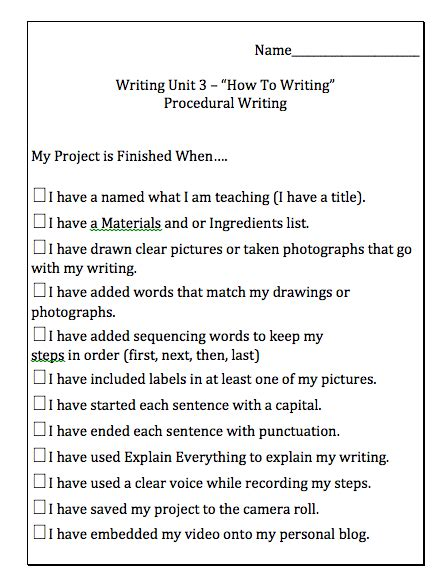 procedural writing procedural writing unit with integration mrs wideen s