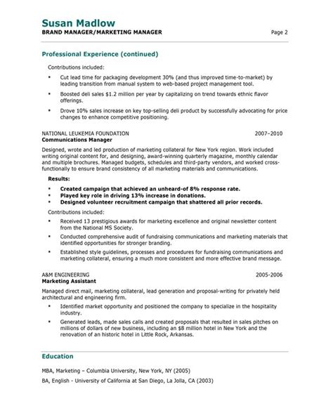 Marketing Manager Experience Resume by Marketing Manager Resume Free Resume Sles Blue Sky
