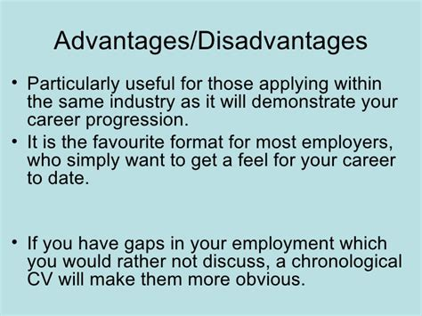 Chronological Resume Advantages And Disadvantages by Cv Writing