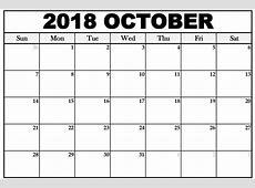 Editable October 2018 Calendar 2018 Calendar Printable