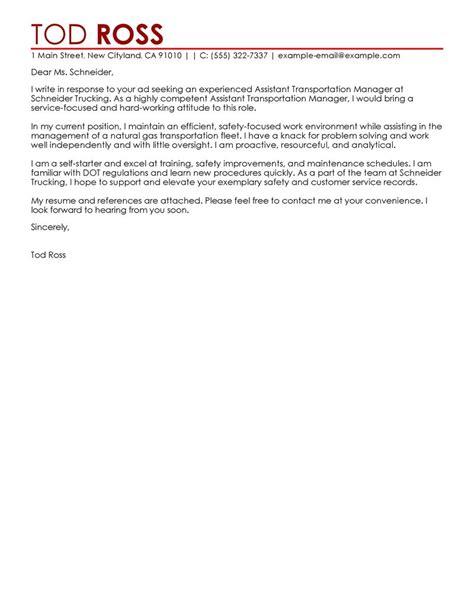 transportation manager cover letter sle