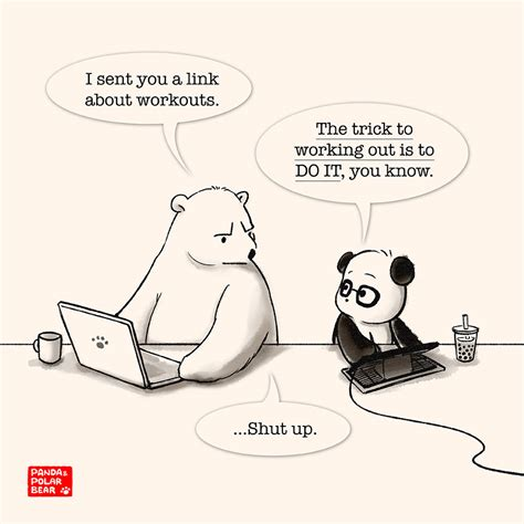 The Trick To Working Out  Panda And Polar Bear