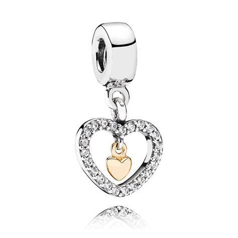 pandora    heart pendant charm cz