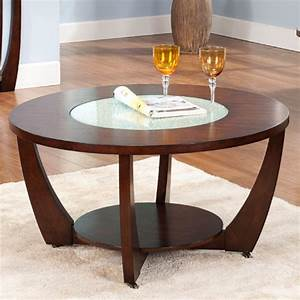 Steve silver rafael round cherry wood and glass coffee for Round cherry wood coffee table