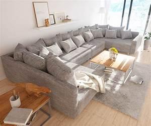 Große Couch In Kleinem Raum : wohnlandschaft clovis xl hellgrau strukturstoff hocker ~ Lizthompson.info Haus und Dekorationen